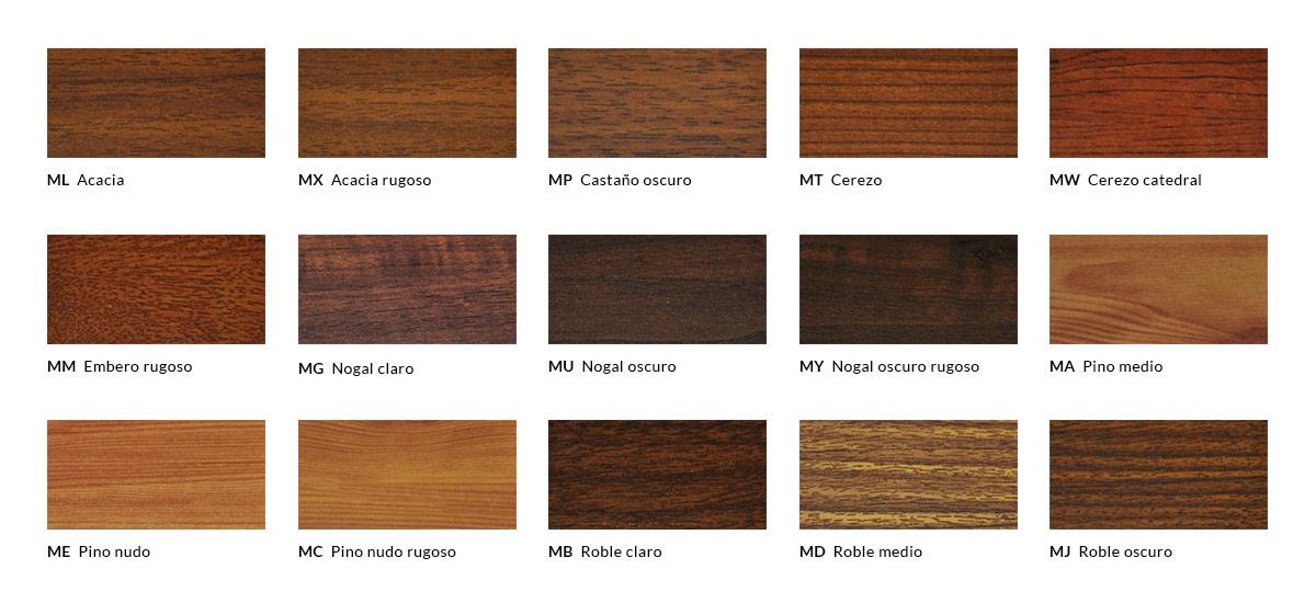 Tabla de acabados lacados con efecto madera